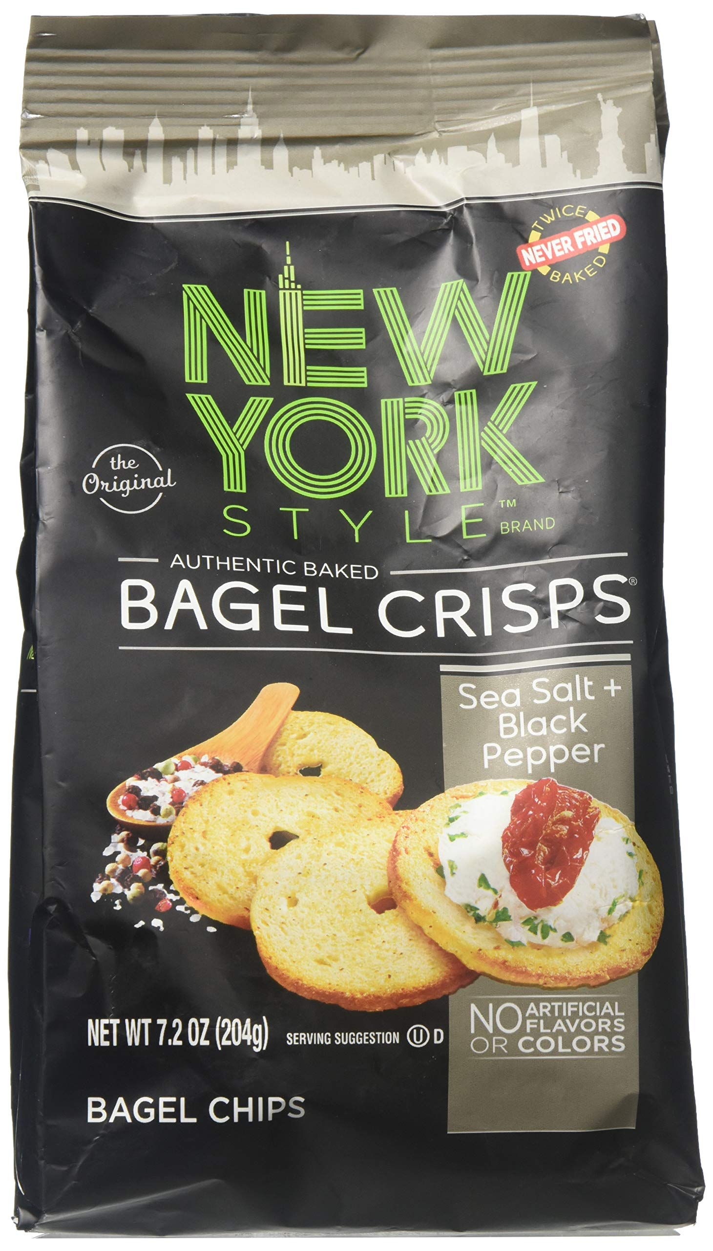 New York Style Bagel Crisps SEA SALT & CRACKED PEPPER, 7.2 Ounce - Add Some Crunch To Soup by New York Style