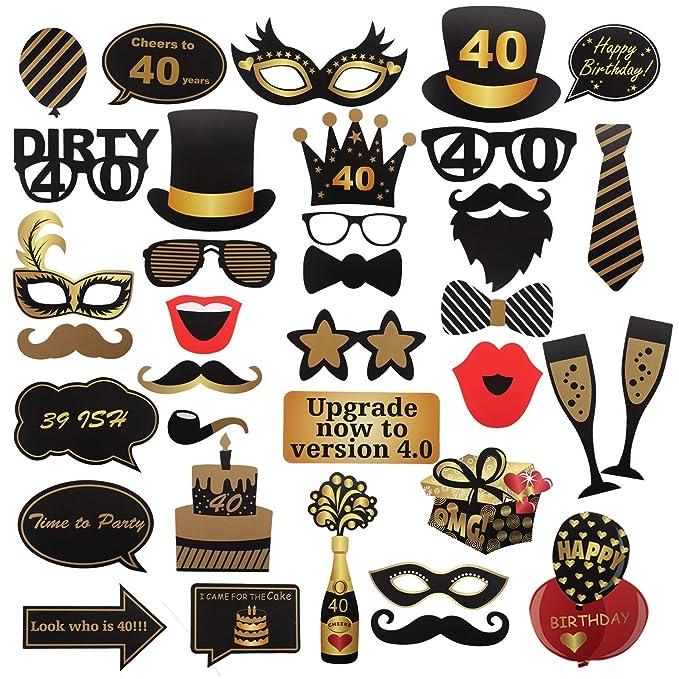 40th cumpleaños Photo Booth Props para Funny Dirty 40th Birthday Birthday and Black Decorations Suministros para Fiestas, Decoraciones y favores (35 ...