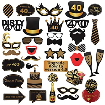 40th cumpleaños Photo Booth Props para Funny Dirty 40th Birthday Birthday and Black Decorations Suministros para Fiestas, Decoraciones y favores (35 ...