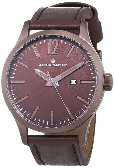 Alpha Saphir Reloj Analógico para Hombre de Cuarzo con Correa en Cuero 381F: Amazon.es: Relojes