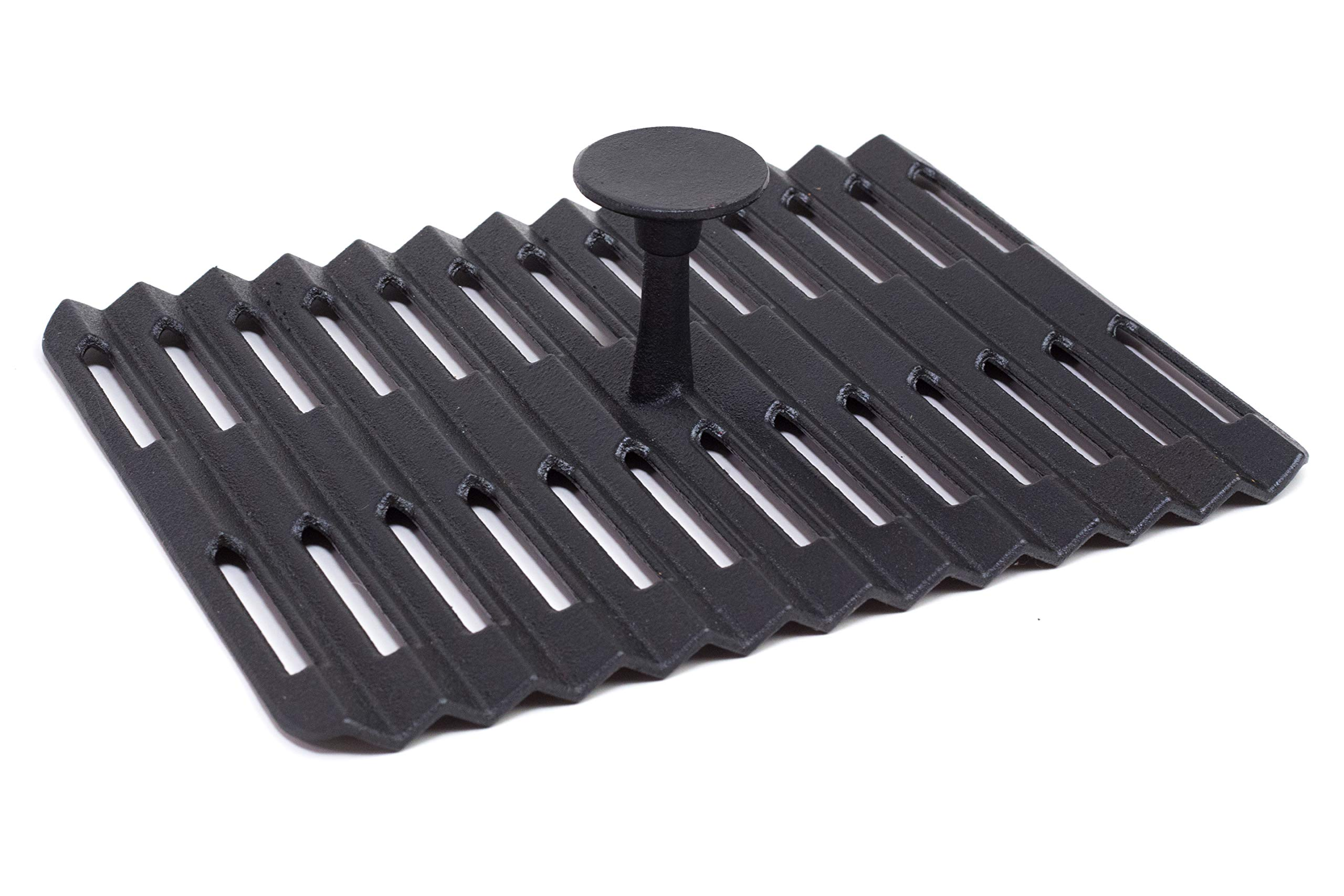 Grillville USA Cast Iron Grill Press, 9 x 12 inches, Heavy-Gauge Cooking Weight, Non-Stick Porcelain Enamel Coating, Vented Design Keeps Food Crisp, Use on The Stove-top or Grill