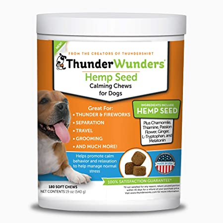 Amazon Com Thunderwunders Hemp Dog Calming Chews Vet Recommended For Situational Anxiety Fireworks Thunderstorms Travel More Made With Hemp Seed Thiamine L Tryptophan Melatonin Ginger 180 Count Pet Supplies