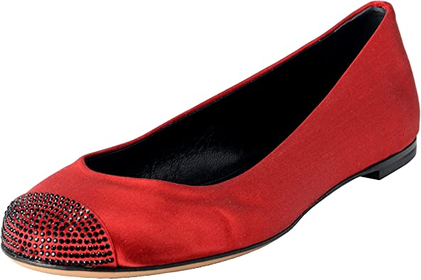 Red Beaded Satin Ballet Flats Shoes