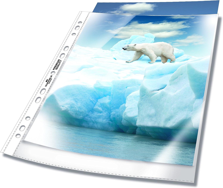 100x DURABLE STANDARD Prospekthülle DIN A4 Lochrandverstärkung transparent
