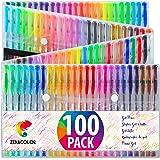 100 Penne Gel Colorate Zenacolor con Astuccio - Set Extra Large - 100 Colori Unici (Zero Doppioni) – Con Inchiostro Fluido della Migliore Qualità - Ottime per la Colorazione di Libri per Adulti (100)