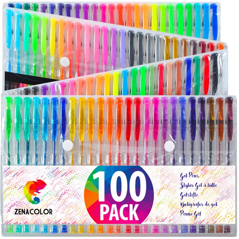 100 bolígrafos de gel Zenacolor con estuche - Set extragrande - 100 colores únicos (sin duplicados) - con tinta de flujo continuo de calidad superior - perfectos para libros de coloración para adultos (100) Twinz Products ZC-GP-100