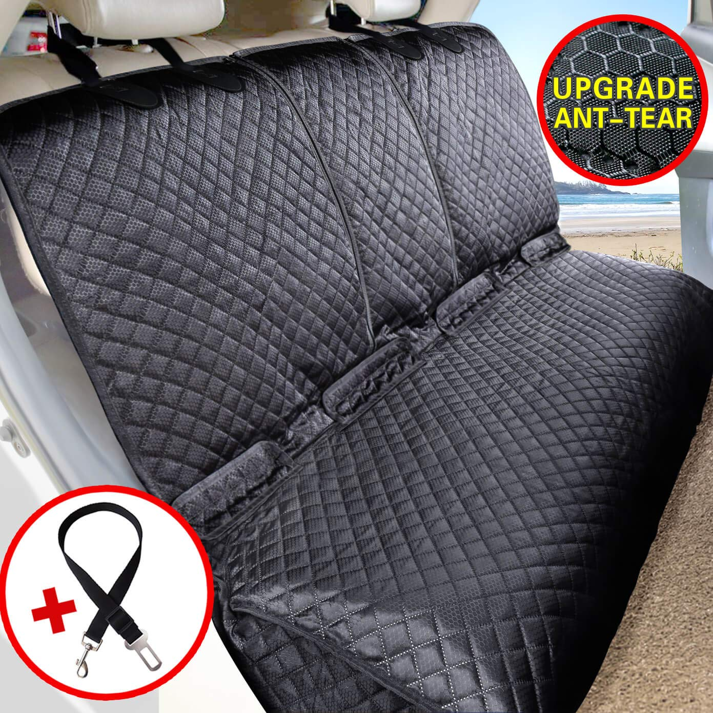 Vailge Bench Dog Seat Cover for Back Seat, 100% Waterproof Dog Car Seat Covers, Heavy-Duty & Nonslip Back Seat Cover for Dogs,Washable & Compatible Pet Car Seat Cover for Cars, Trucks & SUVs by Vailge