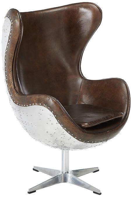 Astounding Pulaski P006210 Modern Industrial Metal And Leather Swivel Egg Chair Lamtechconsult Wood Chair Design Ideas Lamtechconsultcom
