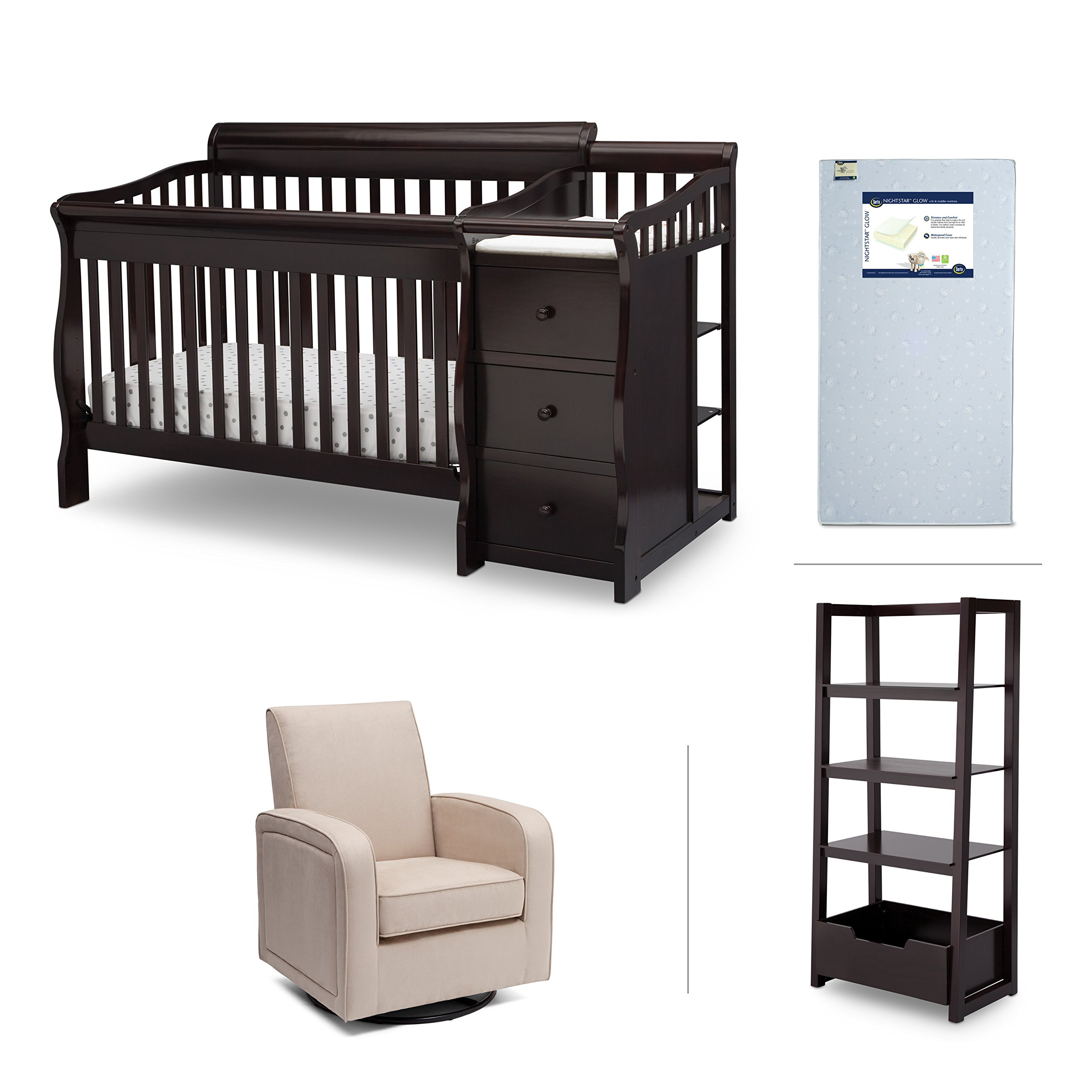 Nursery Furniture Set including Crib Mattress, Convertible Crib-N-Changer, Glider and Wood Ladder Shelf for Book and pictures – Princeton by Delta Children, Dark Chocolate Brown