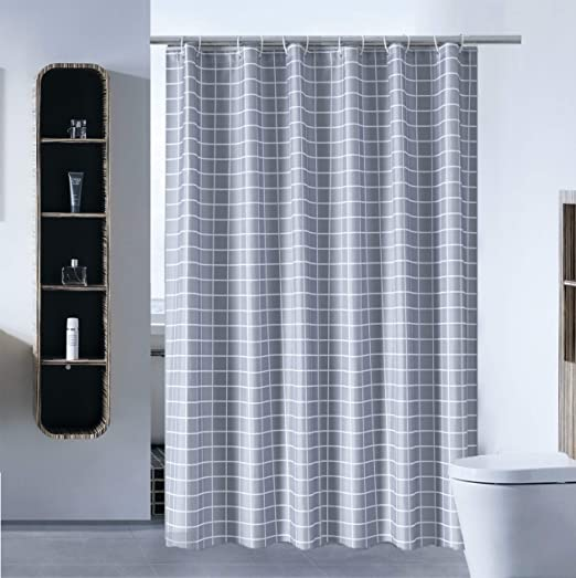 with White Plastic Hooks 36 x 72, Blue White Stripe Stall Shower Curtain for Bathroom Water Repellent Fabric Mildew Resistant Washable Cloth Hotel Quality, Eco Friendly, Heavy Weight Hem