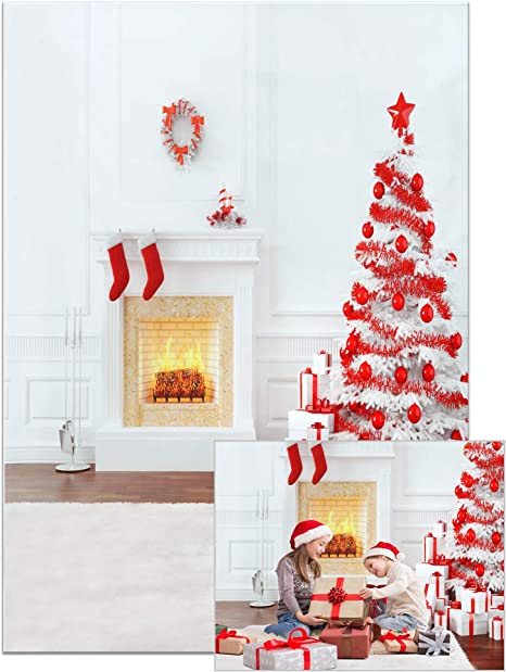 8x8ft Polyester Photography Backdrop Christma Indoor Decorations White Door Fireplace Candle White Blanket Lamp Belt Scene Photo Background Children Baby Adults Portraits Backdrop