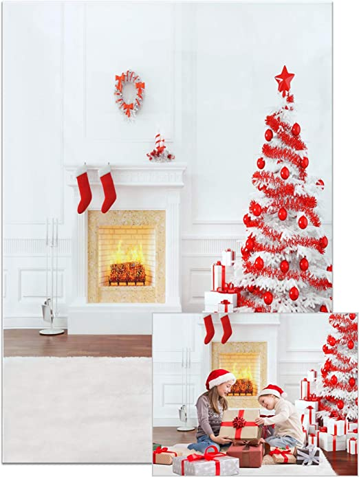 5x6.5ft Merry Christmas Backdrop Cotton Polyester Photography Background Christmas Tree Decorations Ball Gifts Socks Wood Texture White Wall Holiday Photo Shooting Studio Props