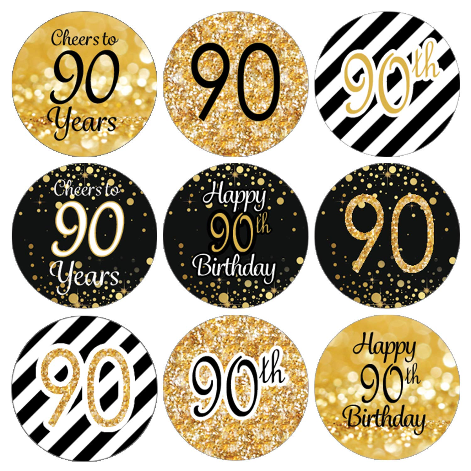 Amazon DISTINCTIVS Black And Gold 90th Birthday Party Favor Labels