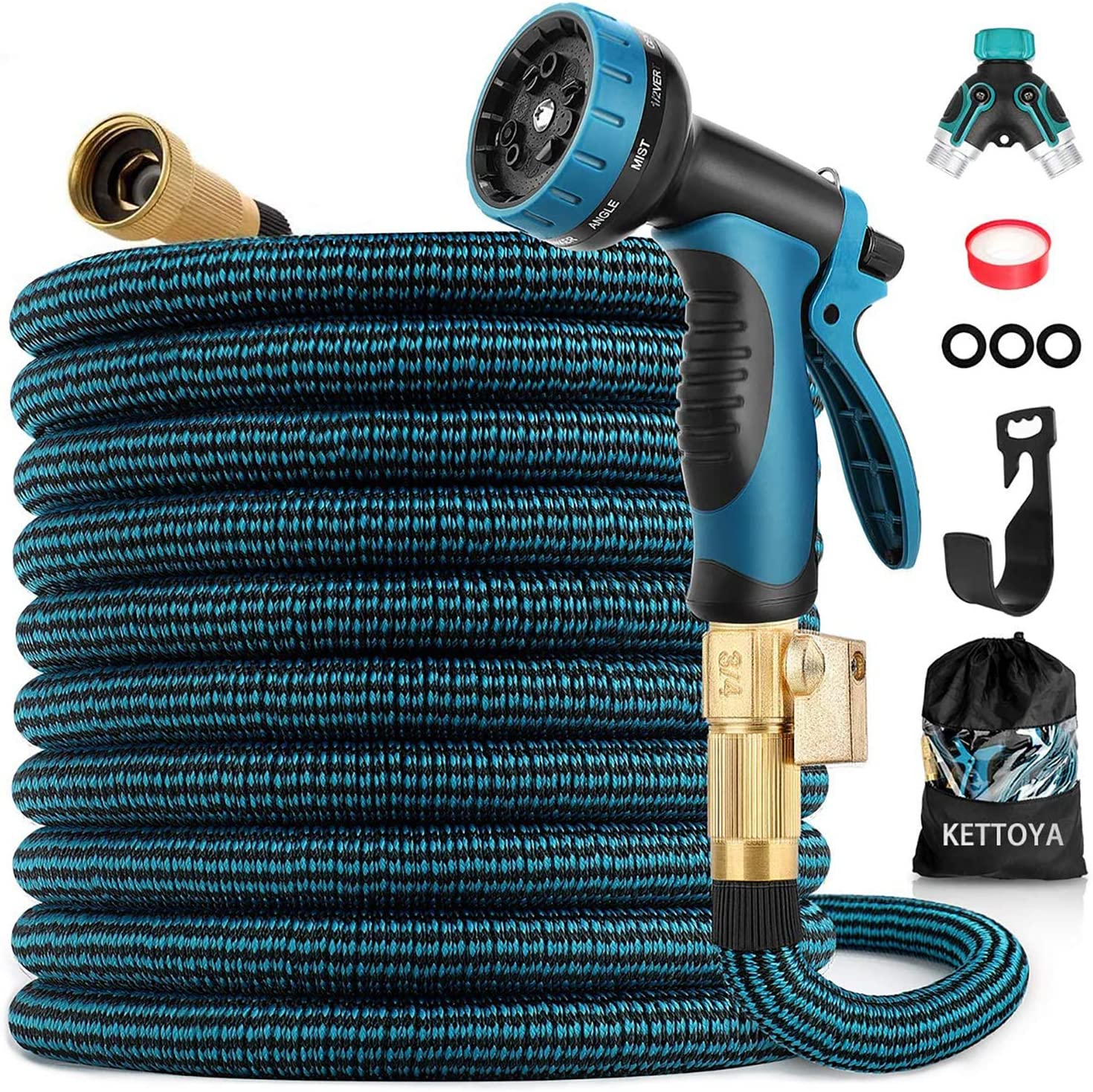 KETTOYA Expandable Garden Hose 100 FT, Heavy Duty Water Hose with 10 Patterns Spray Nozzle and Durable Latex Core, 3/4 Inch Solid Brass Fittings, Flexible Lightweight Retractable Shrinkable Water Hose