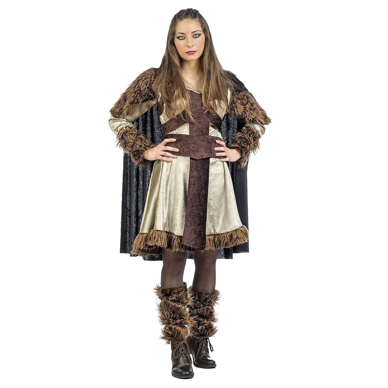 Elbenwald Vikingo Damenkostüm Bera con Piel 3 pcs. Vestido ...