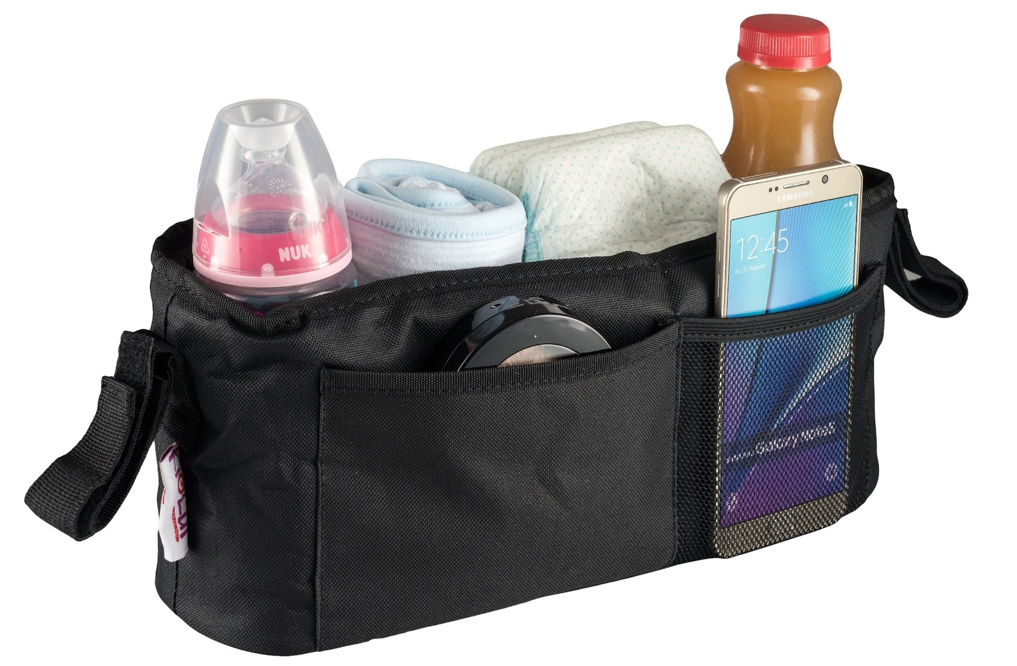 Universal Stroller Organizer Bag By Kidluf - 2 Cup Holders & Accessories Storage Bag for Strollers - With Front Pocket for Cell Phone (Black)