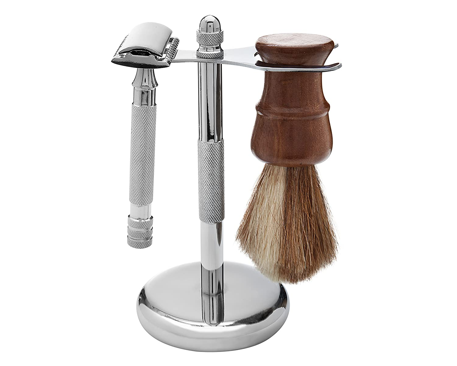Wisper Deluxe Shaving Set, Wisper 100% Pure Badger Brush, Wisper Deluxe Chrome Razor and Brush Stand, Wisper Long Handled Safety Razor, 3-piece Deluxe Shaving Set Magnus