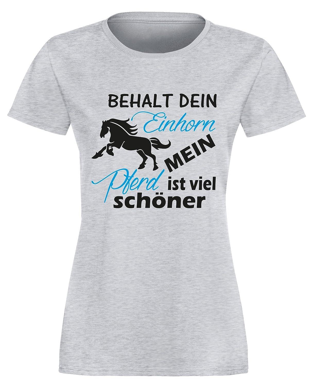 Behalt dein Einhorn mein Pferd ist viel schöner - Damen Rundhals T-Shirt:  Amazon.de: Bekleidung