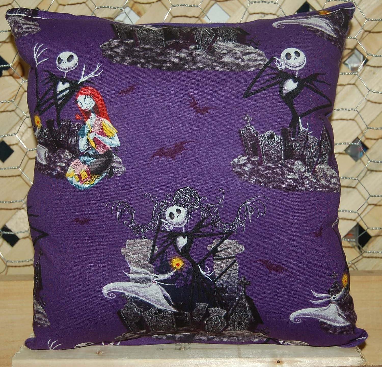 Nightmare Before Christmas Pillow Jack Skellington & Sally Pillow HANDMADE in USA .