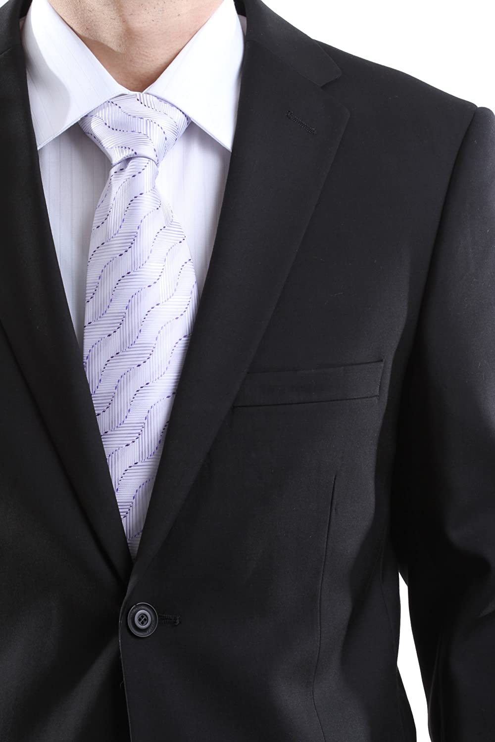 WESTEND Mens Single Breasted 2 Button Black Extra Fine Slim Fit Dress Suit