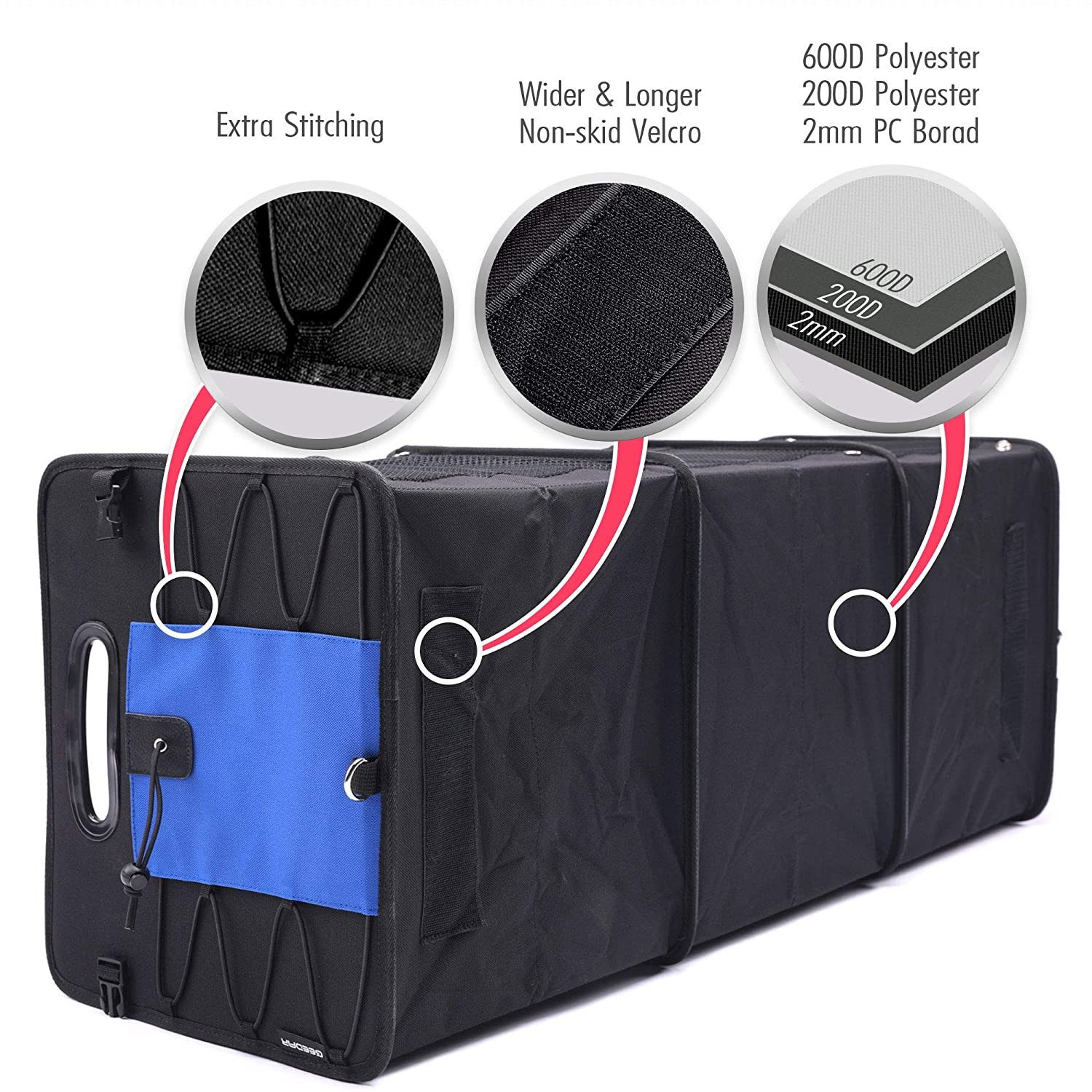 Blue 3 Large Compartments Collapsible Portable Non-Slip Bottom with Tie Down Straps GEEDAR Trunk Organizer for Car SUV Trunk Organizers and Storage