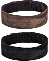 eBoot 2 Pack Velvet Wig Grip Band Comfort Head Hair Band Adjustable Fastern, Brown and Black