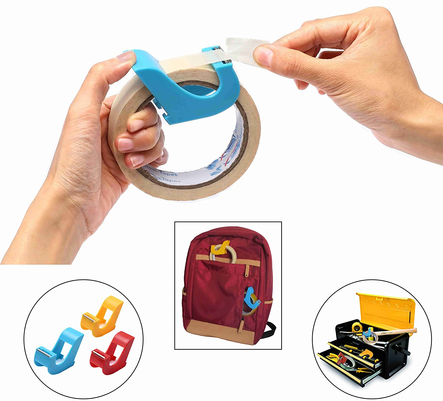 Masking Tape Dispenser(2 pcs) Portable Tape Gun, Revolutionary Desktop Tape Dispenser, 1 Core, Lightweight, Non occupying space, Blue, Red, Yellow 1 Core amdohai factory