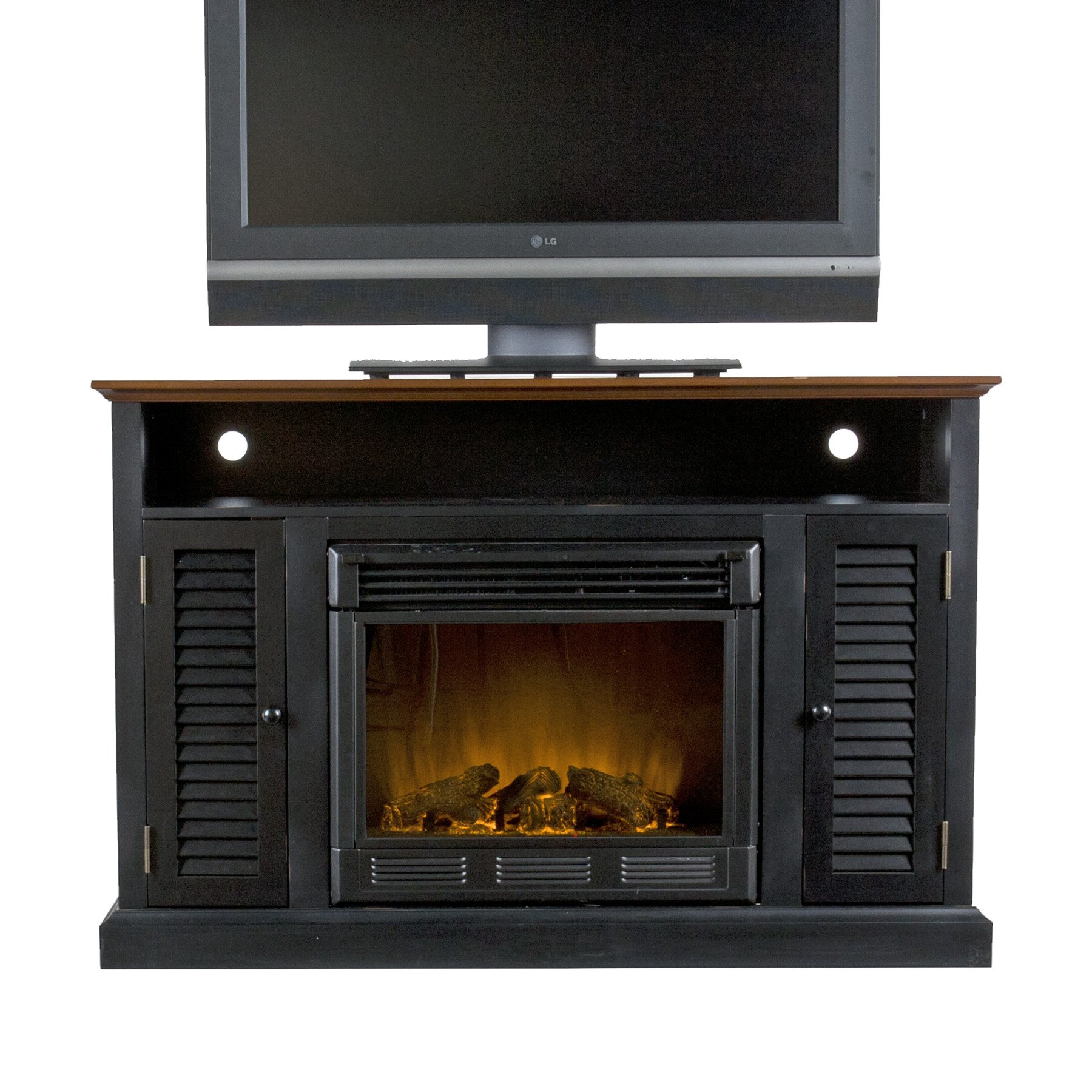 SEI Antebellum Media Console with Electric Fireplace, Black/ Walnut by Southern Enterprises