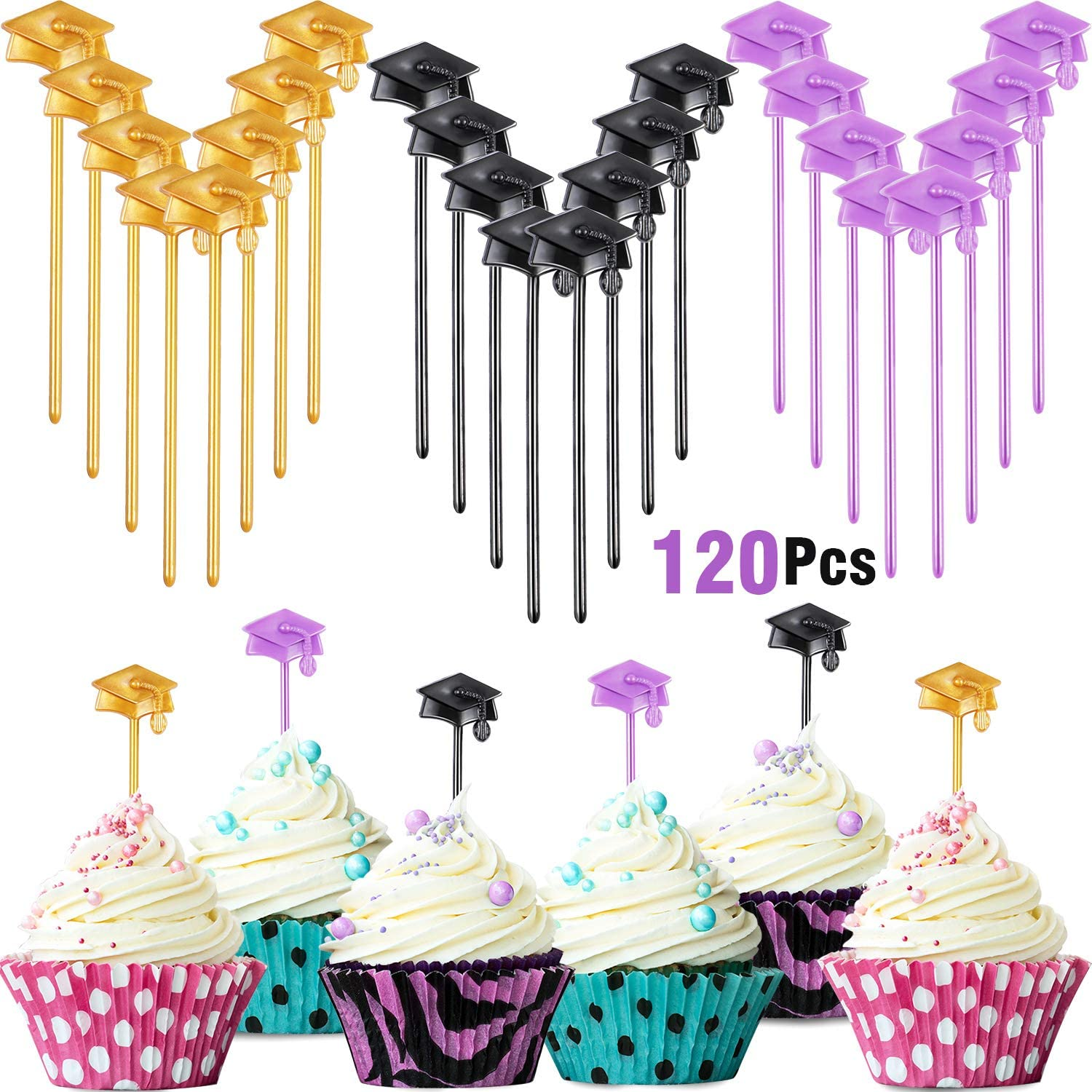120 Pieces Graduation Cupcake Toppers Plastic Graduation Food Appetizer Picks Graduation Cake Decorations for Graduation Party Supplies