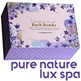 LuxSpa Bath Bombs Gift Set - The Best Ultra Natural Bubble Fizzies With Dead Sea Salt Cocoa And Shea Essential Oils, 6 x 4.1 oz, The Best Birthday Gift idea For