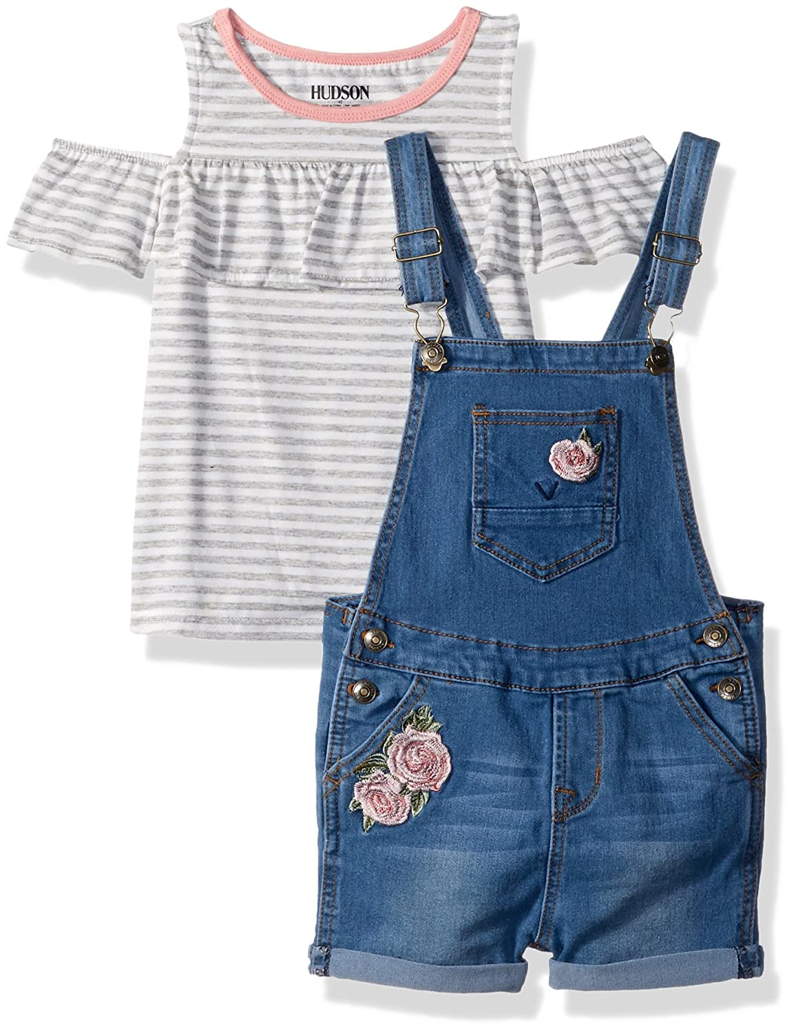 cf8173ed5 Amazon.com: HUDSON Girls' Toddler 2PC Shortall Set, Whatever wash 2T:  Clothing