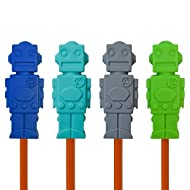 Munchables Chewable Sensory Pencil Toppers - Robots  (Set of 4) (Navy/Aqua/Grey/Green)