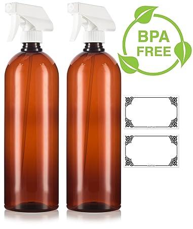 c760a0961d94 Amazon.com : Amber 32 oz Large Boston Round PET Bottles (BPA Free ...
