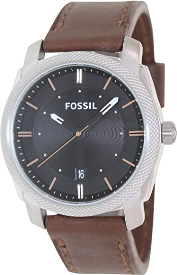 Amazon.com: Fossil Machine Three-Hand Leather Watch - Brown Fs4860: Fossil: Watches