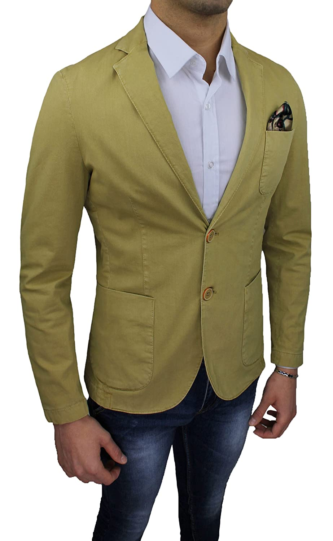 Giacca uomo Alessandro Gilles sartoriale giallo casual elegante slim fit  made in Italy (S)  Amazon.it  Abbigliamento 5c7a2074ef1