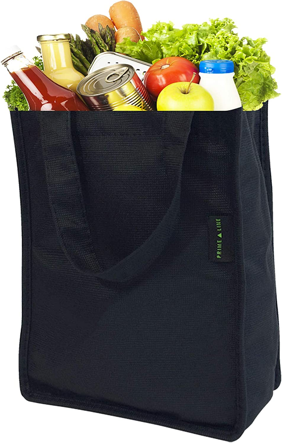 Black Reusable Grocery Bags Made From Recycled Plastic Bottles