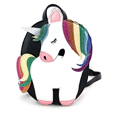 ef341a6cbfba Amazon.com  Sleepyville Critters Rainbow Unicorn Glitter Black 8 x 11 Inch  Vegan Leatherette Mini Backpack  Shoes