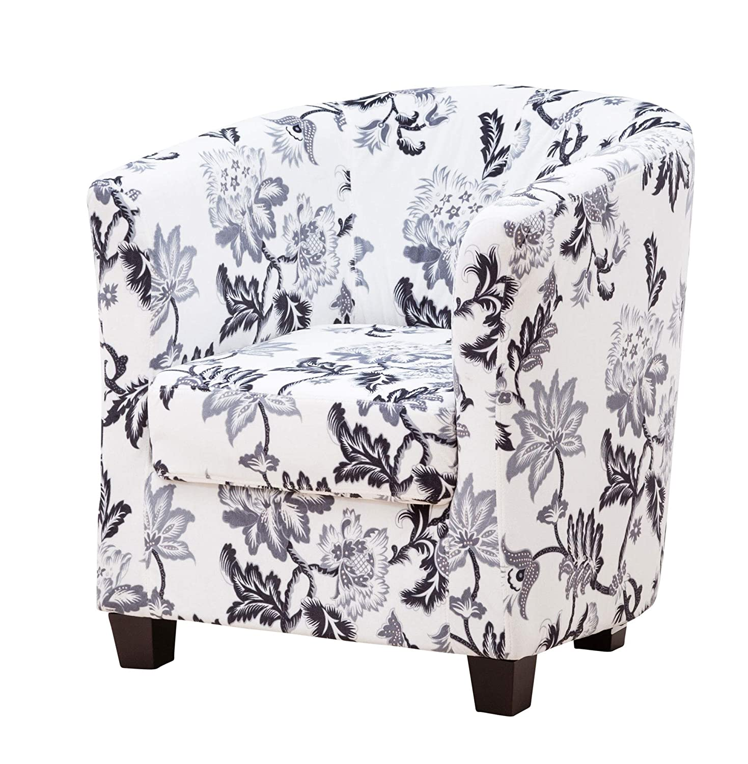 Sofa Collection Vallier Floral Tub Chair/Armchair Seating, Fabric, White, 72 x 71 x 78 cm 5060363585038