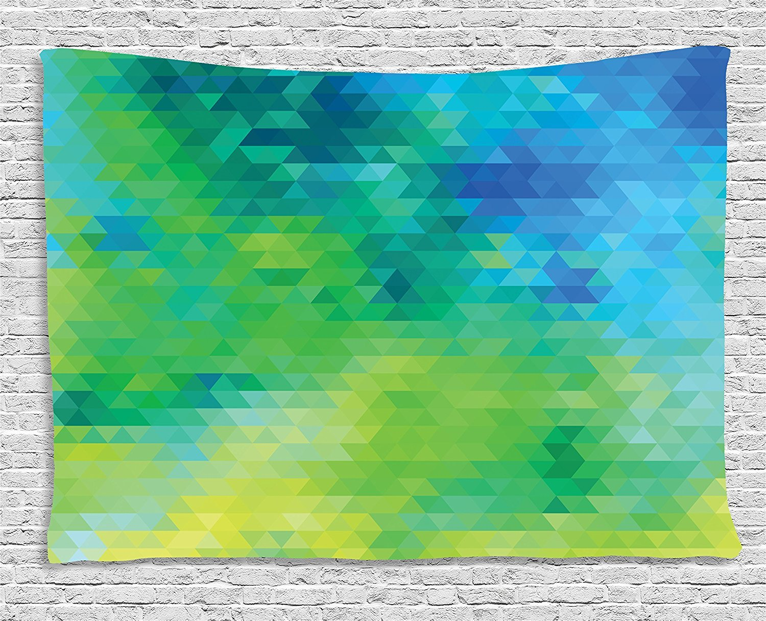 asddcdfdd Green and Blue Tapestry, Geometric Abstract Pattern with Triangles Ombre Inspired, Wall Hanging for Bedroom Living Room Dorm, 80 W X 60 L Inches, Turquoise Lime Green Yellow