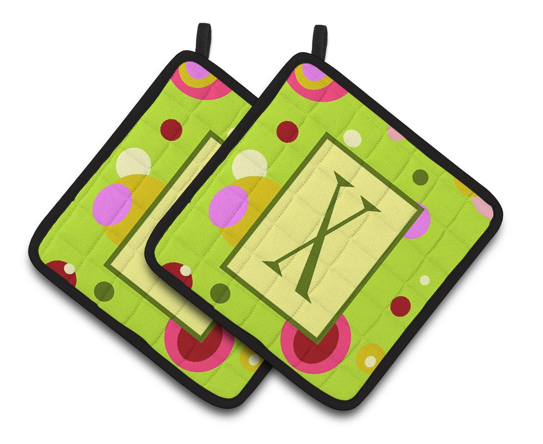 Lime green Pair of Pot Holders CJ1010-XPTHD Multicolor Carolines Treasures Letter x Monogram 7.5HX7.5W