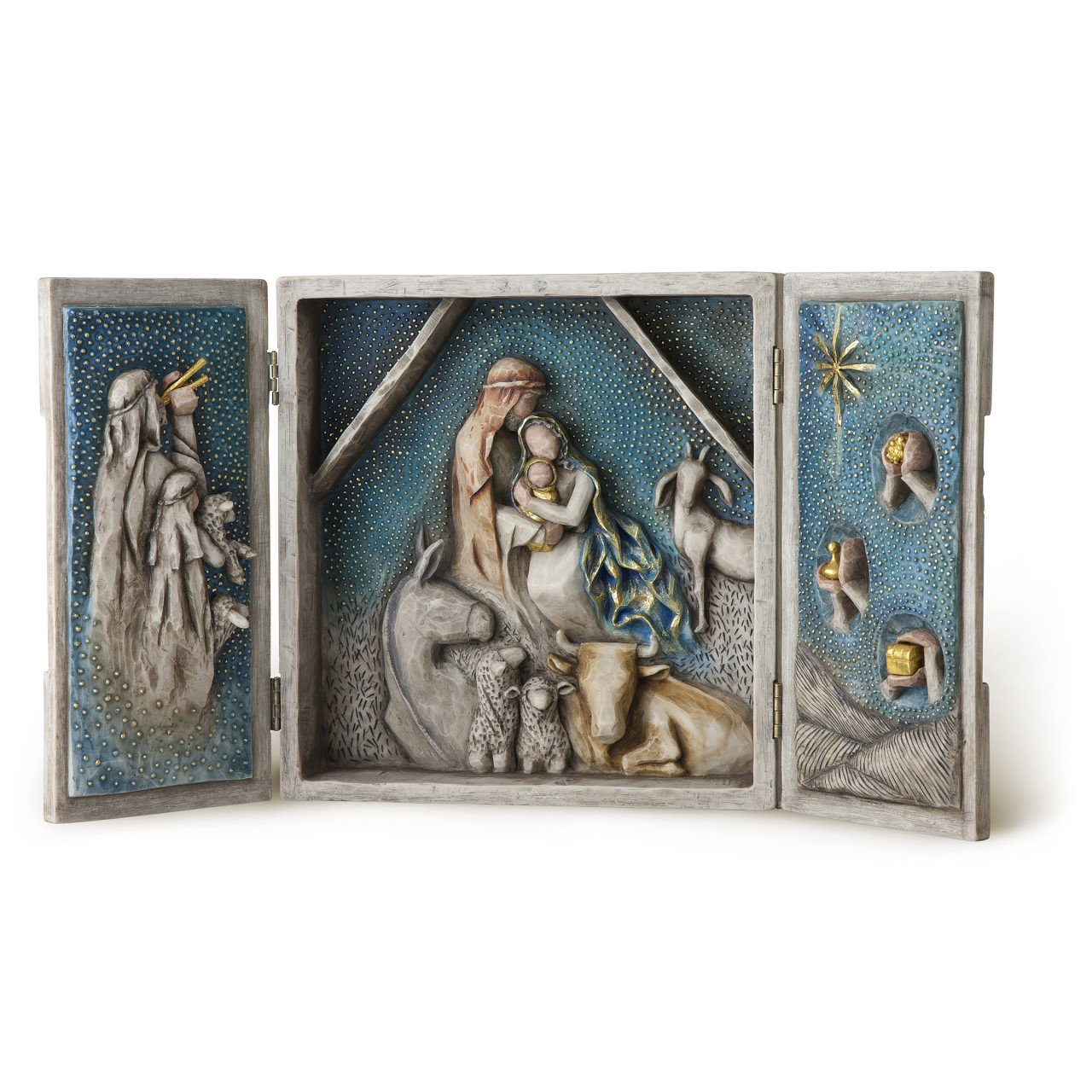 Willow Tree Starry Night Nativity, sculpted hand-painted nativity triptych by Willow Tree (Image #1)