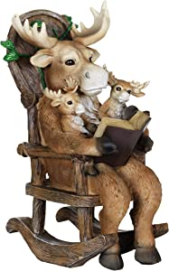 """Exhart Solar Moose Family Reading a Book on Rocking Chair Garden Statue –Bookworms Moose Mini Figurine w/Solar LED Lights, Booklovers Moose Statue, Moose Decorations, 6.5"""" L x 7.9"""" W x 12"""" H"""