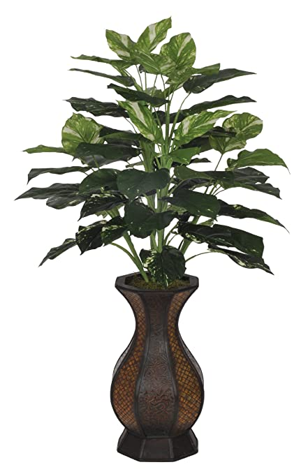 Amazon house of silk flowers artificial pothos floor plant in house of silk flowers artificial pothos floor plant in rattan planter mightylinksfo