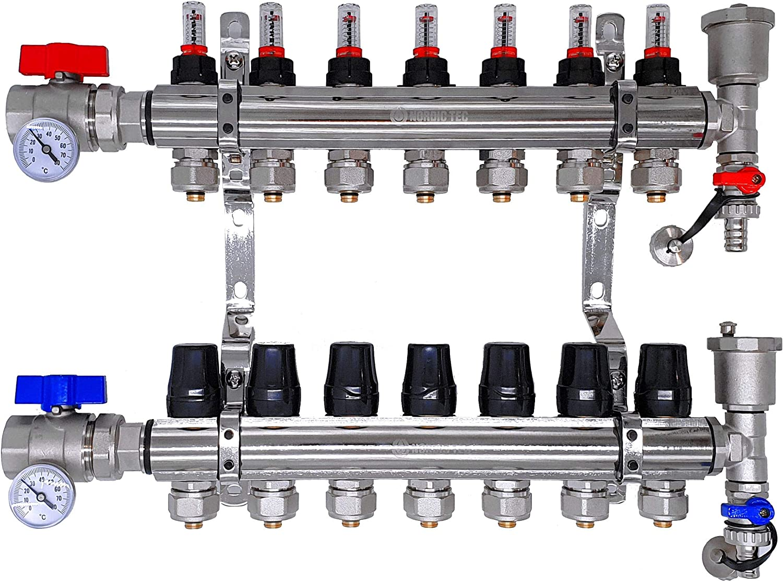 Distribuidor circuito de calefacción, suelo radiante FULL con caudalímetro Topmeter S, válvulas de bola, circuitos de calefacción termómetro NORDIC- 10 circuitos de calefacción