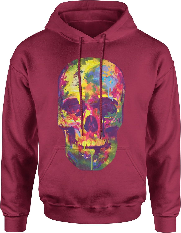 Expression Tees Painted Skull Neon Colors Unisex Adult Hoodie
