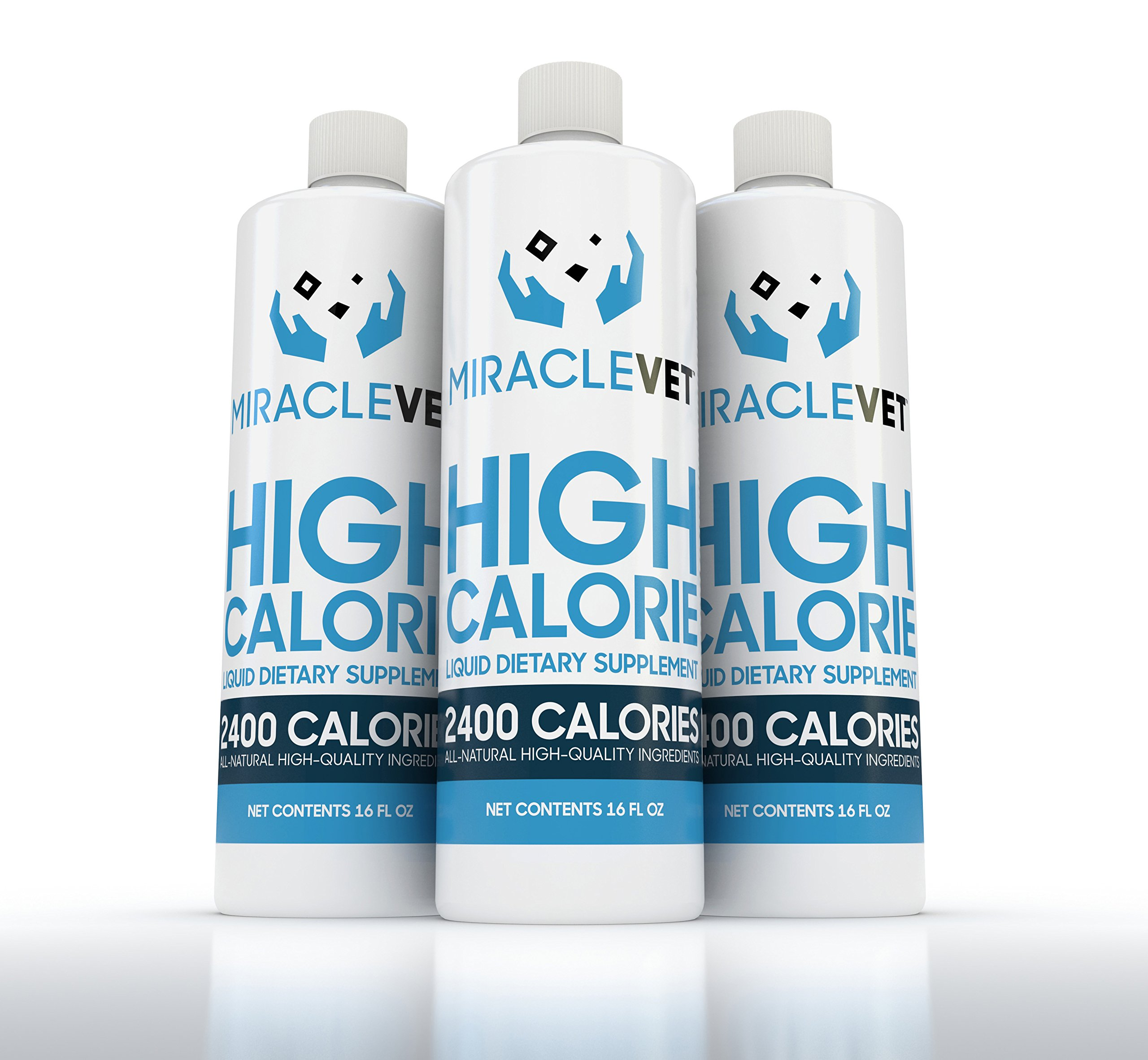 Miracle Vet High Calorie Weight Gainer for Dogs & Cats - 2,400 Calories (1 Bottle - 16 oz) by Miracle Vet