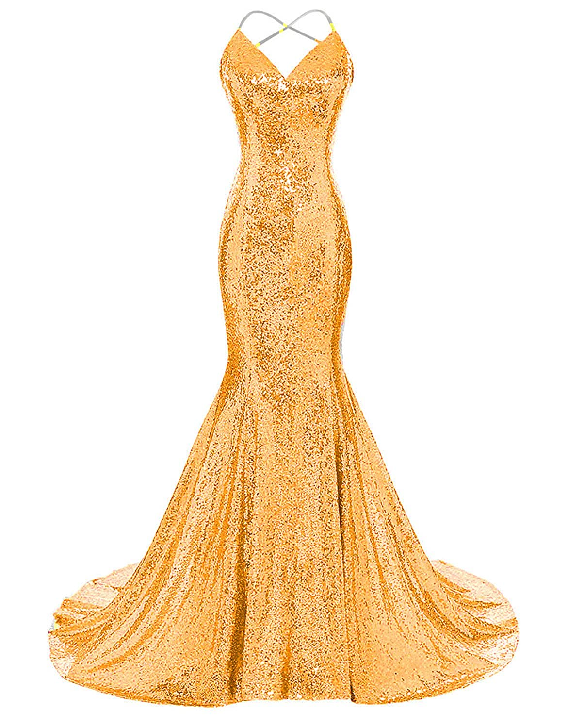 Bright gold Monalia Women's 2018 Formal Evening Dresses Sequined Mermaid Prom Gowns EV4