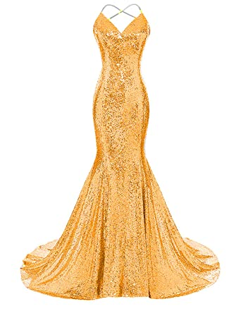 Ruiyuhong Elegant Sleeveless Bright Gold Party Evening Dresses Long for Teens Formal