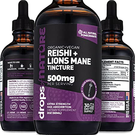 Reishi and Lions Mane Mushroom Immune Defense, 2 fl. oz. Pomegranate Liquid Drops, Immunity Boosting Antioxidants to Fight Free Radicals, Sublingual