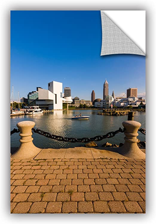 ArtWall Cody Yorks Cleveland Skyline 2 Appeelz Removable Graphic Wall Art 18 by 36